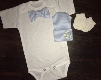 Bodysuit with Bowtie and It's a Boy Newborn Hospital Hat and Mittens. 1st Keepsake! GREaT GiFT! 1st Keepsake!