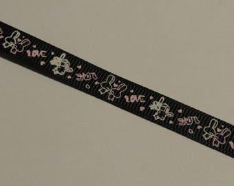 Pretty black ribbon with white and pink bunnies pattern