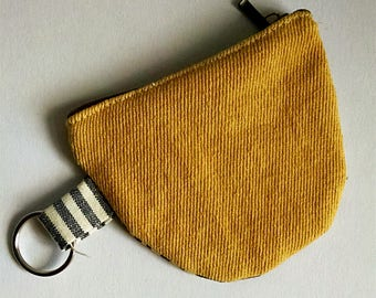 Small pouch, coin pouch, cotton pouch, key ring, organic cotton, hemp, zipper pouches, eco-friendly accessory, mustard, stripes