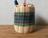 Hand Woven basket, hand dyed, hand woven, Authentic Native American Art. Double wall basket