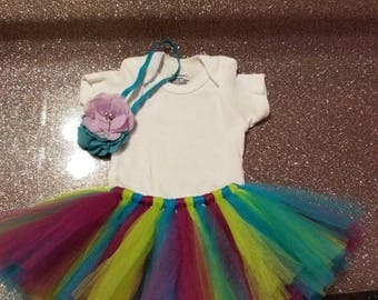 Newborn baby onesie and tutu with headband/custom/birthday/photo prop/