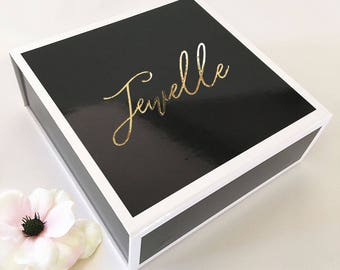 Black Gift Box, Personalized Metallic Gold Foil Text