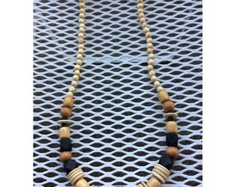 Wood Necklace w/ Disc Beads