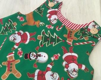 Green Santa Pinafore Dress