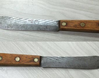 Case XX 431-7 Knife Butcher Carving Chef Chopping Carbon Blade Overall 11.5 Inches OA Full Tang Hardwood Handle Brass Rivets Antique Vintage
