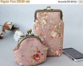 SALE iPhone 7 Plus wallet and coin purse floral roses, Set of 2, Roses iPhone 6s plus case wallet, Gift for her, Wallet phone case, Shower g
