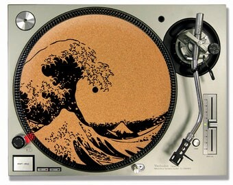 Turntable Slipmat -  The Great Wave Cork turntable mat - DJ Slip mat