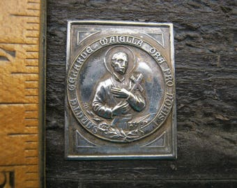 French Religious Plaque, Vintage Catholic Plaque, Saint Gerard Plaque, Baby Shower