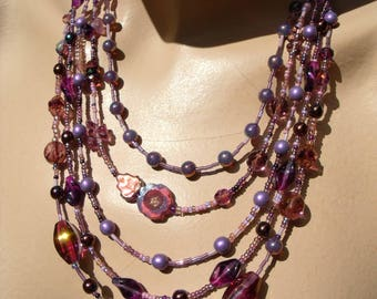 TOHO Czech glass beads necklace of purple beads summer theatre dance lilac flower