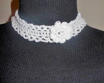Crochet Choker Necklace White Handmade Jewelry Fashion Accessories