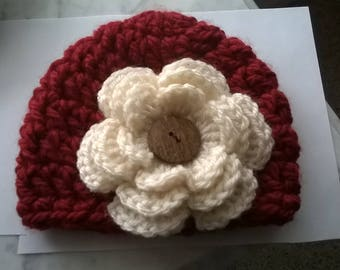Newborn Beanie with Flower, Christmas Baby Beanie Hat, Cranberry Red Baby Beanie, Photo Shoot Christmas Newborn Beanie, Red Newborn Baby Hat