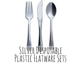 10 Pack Disposable Silver Cutlery Set, Flatware Set, Silver Spoon, Silver Fork, Silver Knife, Silverware Wedding Setting, Outdoor Party Set