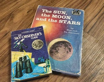 Vintage Children's Astronomy, Stars, Science, Solar System, Books. Activity Young Adult Books.