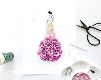 Limited Edition, Summer Floral Fashion Illustration Print , Hydrangea Flower, Glamourous, Swarovski, Wall Art, A3, A4, Print, Wall Art