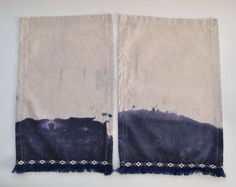 Indigo Dip Dyed 2-Set of Fringe Dinner Napkins