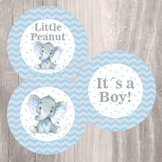 Blue Elephant Baby Shower Printable Centerpieces Instant Download