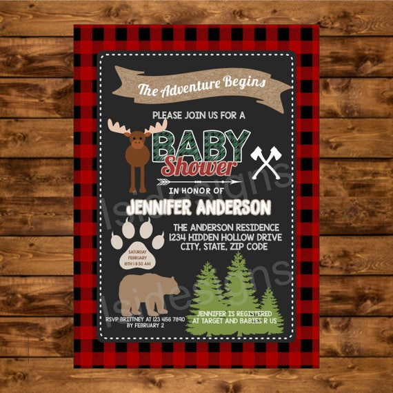 Lumberjack Baby Shower Invitation Chalkboard Printable Invite