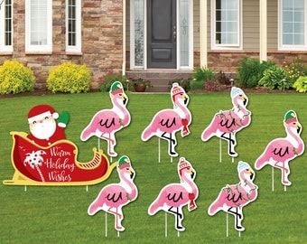 Flamingle Bells Shaped Lawn Decorations   Outdoor Yard Decorations    Tropical Christmas Lawn Ornaments   Flamingo