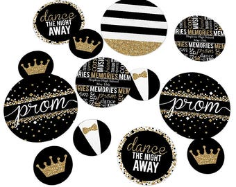 Prom Confetti Kit - Extra Large Party Circles for a Prom Party Celebration - Junior Prom Decorations - Senior Prom - Black and Gold Glitter