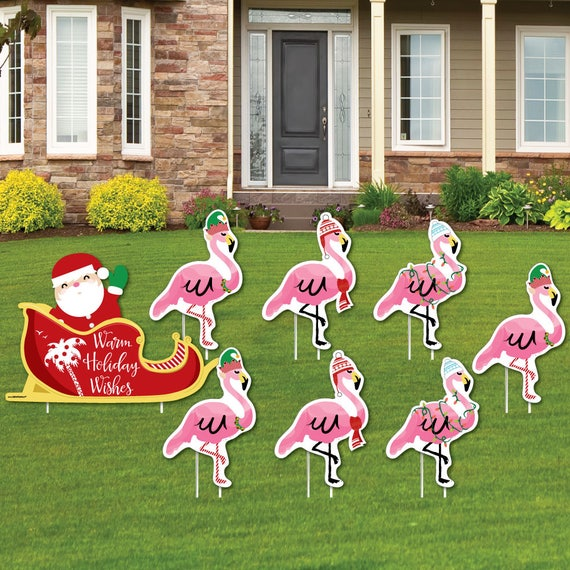 Flamingo Christmas Decorations: Flamingo Shaped Lawn Decorations