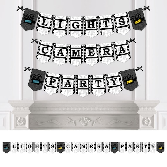 movie personalized hollywood themed party bunting banner