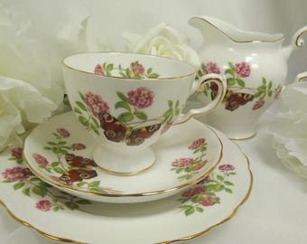 Tuscan Butterfly ( Red) Teacup, Saucer , Plate PLUS Creamer