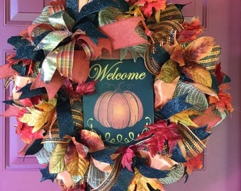 Fall Wreath, Front Door Wreath for Fall Door Wreath, Thanksgiving Wreath, Fall Deco Mesh Wreath, Autumn Wreath, Fall Decoration Ideas