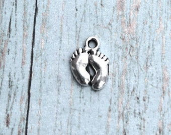 10 Small Baby feet charms (1 sided) antique silver tone - silver baby feet pendants, baby shower charms, new mom charms, foot charms, RR2