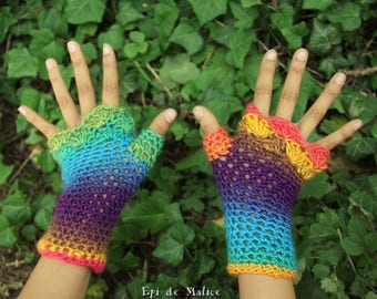 Fairy, magical, colorful, multicolored, rainbow, mittens, mitts, fingerless gloves. Boho, hippie style, gypsy, bohemian, crochet. Festival.