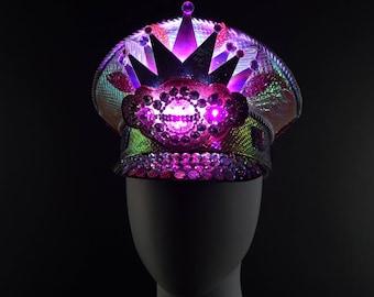 Pink Holographic Rhinestone Captains Hat | Light Up LED Hat