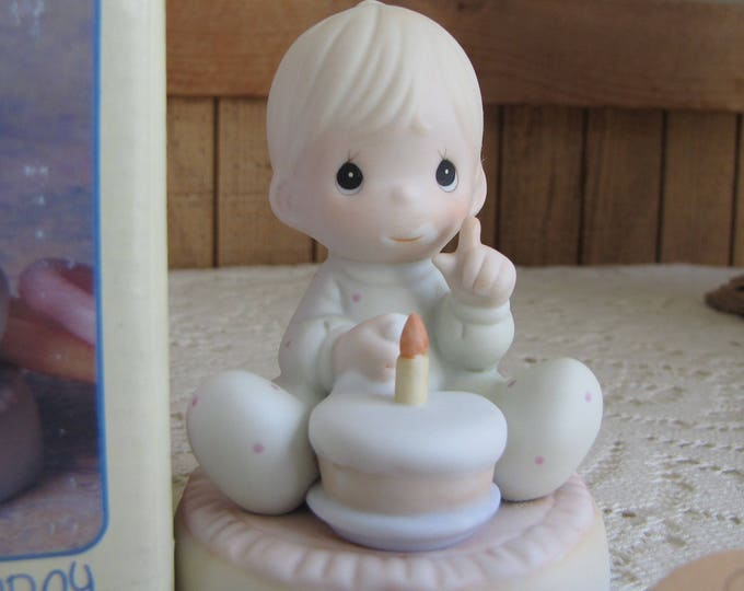 Precious Moments Baby's First Birthday One of Eight Figurine Trumpet 1994 Symbol Retired
