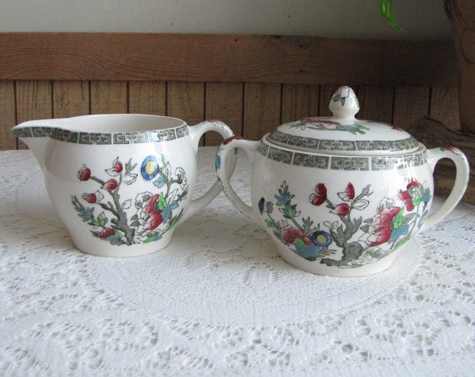 Indian Tree Cream and Sugar Bowl Johnson Bros. Vintage Dinnerware and Replacements 1979-1982 Greek Key