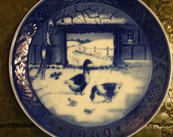 Royal Copenhagen Porcelain Plate - In The Old Farmyard - 1969