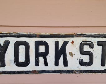 "Vintage Street Sign - York St. - 19 1/2""x 6"" - Authentic Original Street Sign"