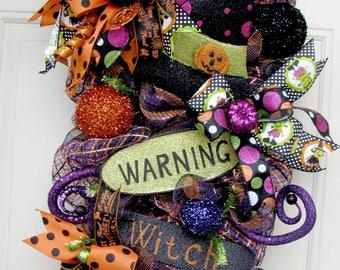 Halloween Wreath Swag- Witch Wreath Swag- Front Door Decor- Deco Mesh Wreath Swag