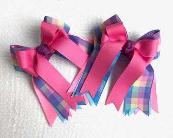 Shorty Hair bows for horse shows/hair accessory/blue pink plaid/Ready2Mail