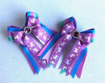 SHORTY horse show hair bows/purple sparkle gem