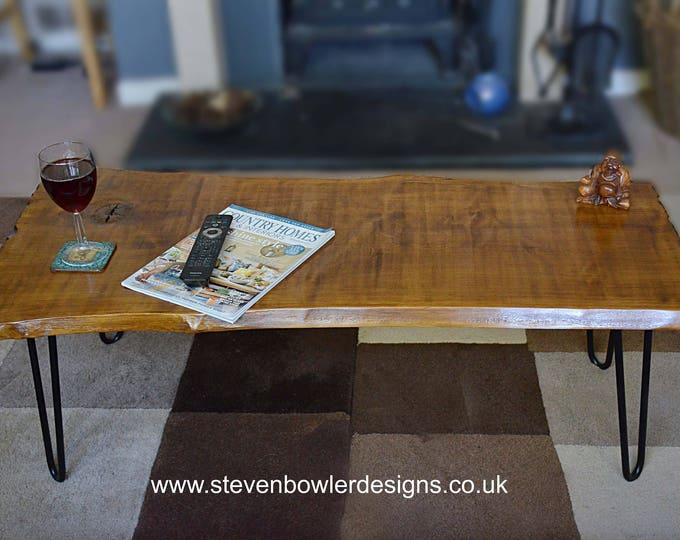 NEW IN STOCK Sleek & Stylish Medium Oak Stain Solid Wood Slab Top Coffee Table with Industrial Style Metal Hairpin Legs 114 cm L x 56 cm W