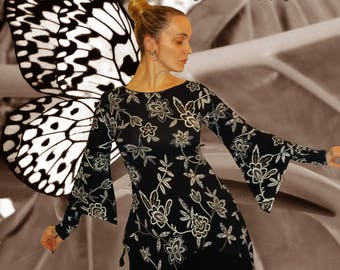 asymmetric tunic, tunic ethnic, Bohemian tunic, boho 'Black flowers...'