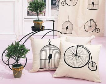 Birdcage and Bicycle Pattern Cotton Oxford Panel Fabric - 2 Design Package