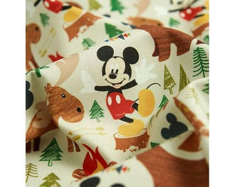 Camping with Micky Digital Printing Cotton Fabric by Yard