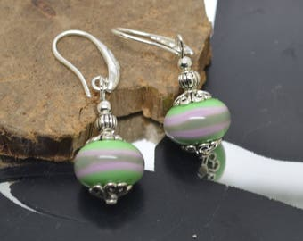 Earrings 925 Silver hooks khaki pink Lampwork Glass Beads