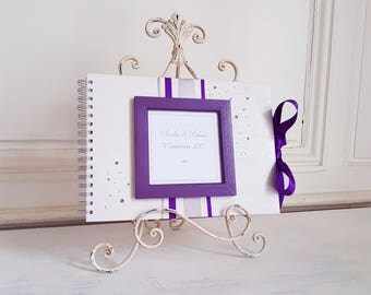 ELEGANCE - purple guestbook / silver - the moment C