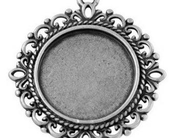 1 silver pendant holder ring 20 mm nickel free