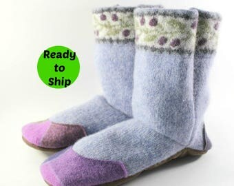 Gift for Mom- Wife Gift- Cozy Gift- Slipper Boots- Get Well Gift- College Care package- Wool Slippers- Womens Pajamas- Hygge Gift- Relaxing