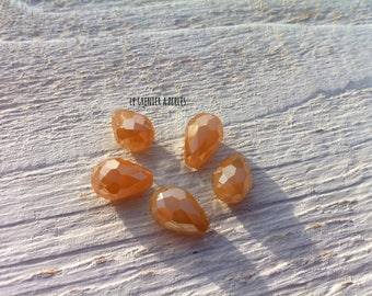 Pearls drops 12 x 8 mm peach iridescent X 5