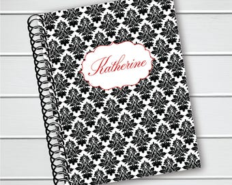 Personalized Notebook, Vintage Background with Name Spiral Notebook, Writing Journal (NB034-PC)