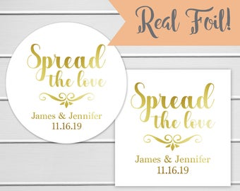 Foiled Spread the Love Stickers, Jam Wedding Favor Sticker, Wedding Stickers, Wedding labels (#100-F)