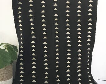 Mudcloth Textile Throw Modern Geometric Black Natural Triangles