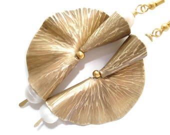 Hammered Bronze Pearls Fan Earrings Antique Face Metalwork Modern Bronze and Fresh Water Pearls Earrings Unique Fold Formed Earrings